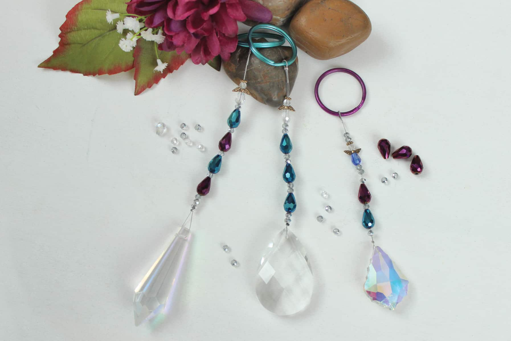 Raindrop crystal suncatchers