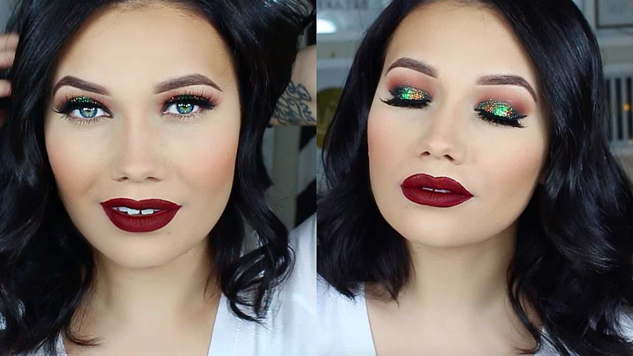 Red and green Christmas makeup