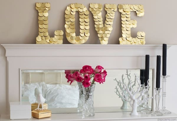 Sequin love sign