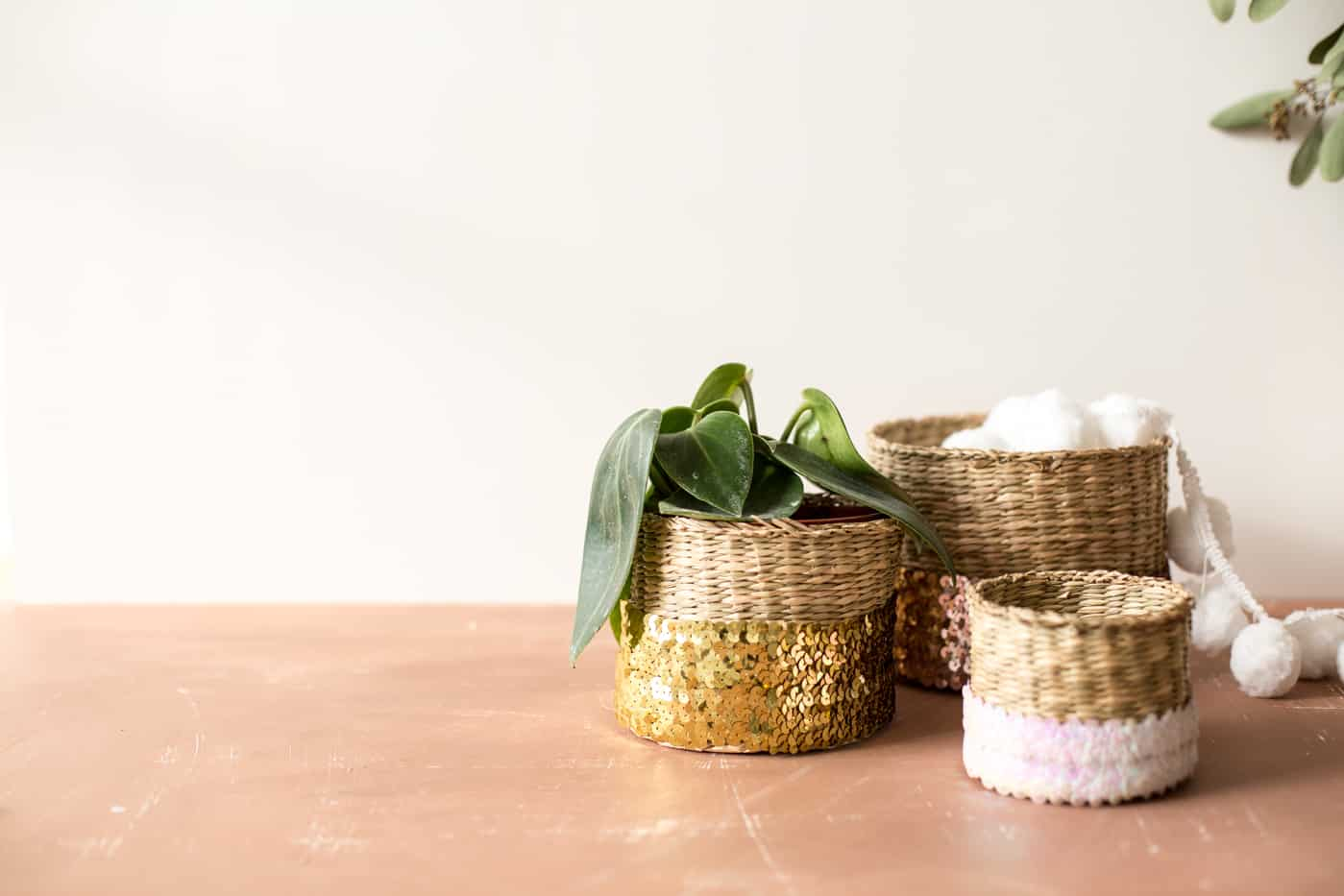 Sequin wrapped baskets