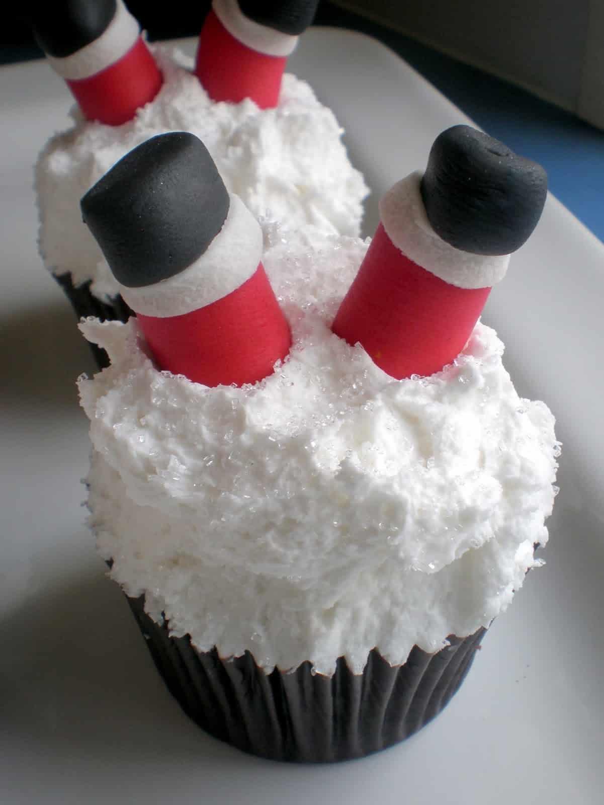 Snow-banked Santa cupcakes