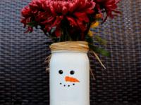 Snowman mason jar vase 200x150 Joyful, Joyful: DIY Christmassy Mason Jars