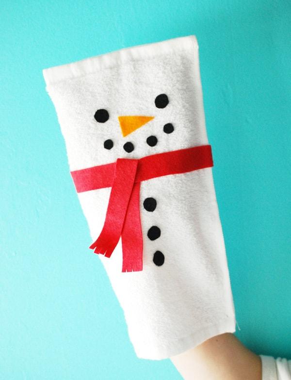 Snowman washcloth puppet