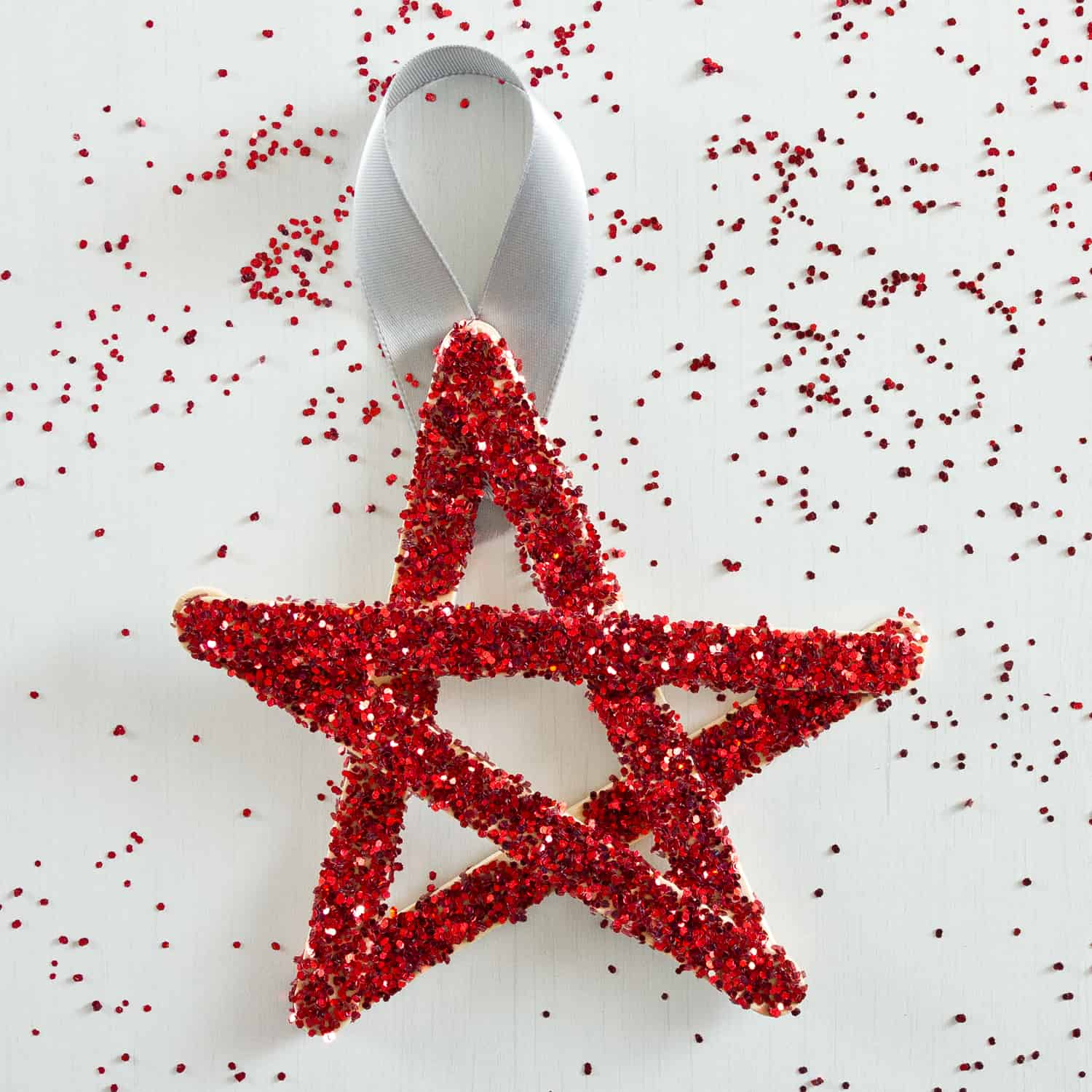 Sparkly popsicle stick star ornaments