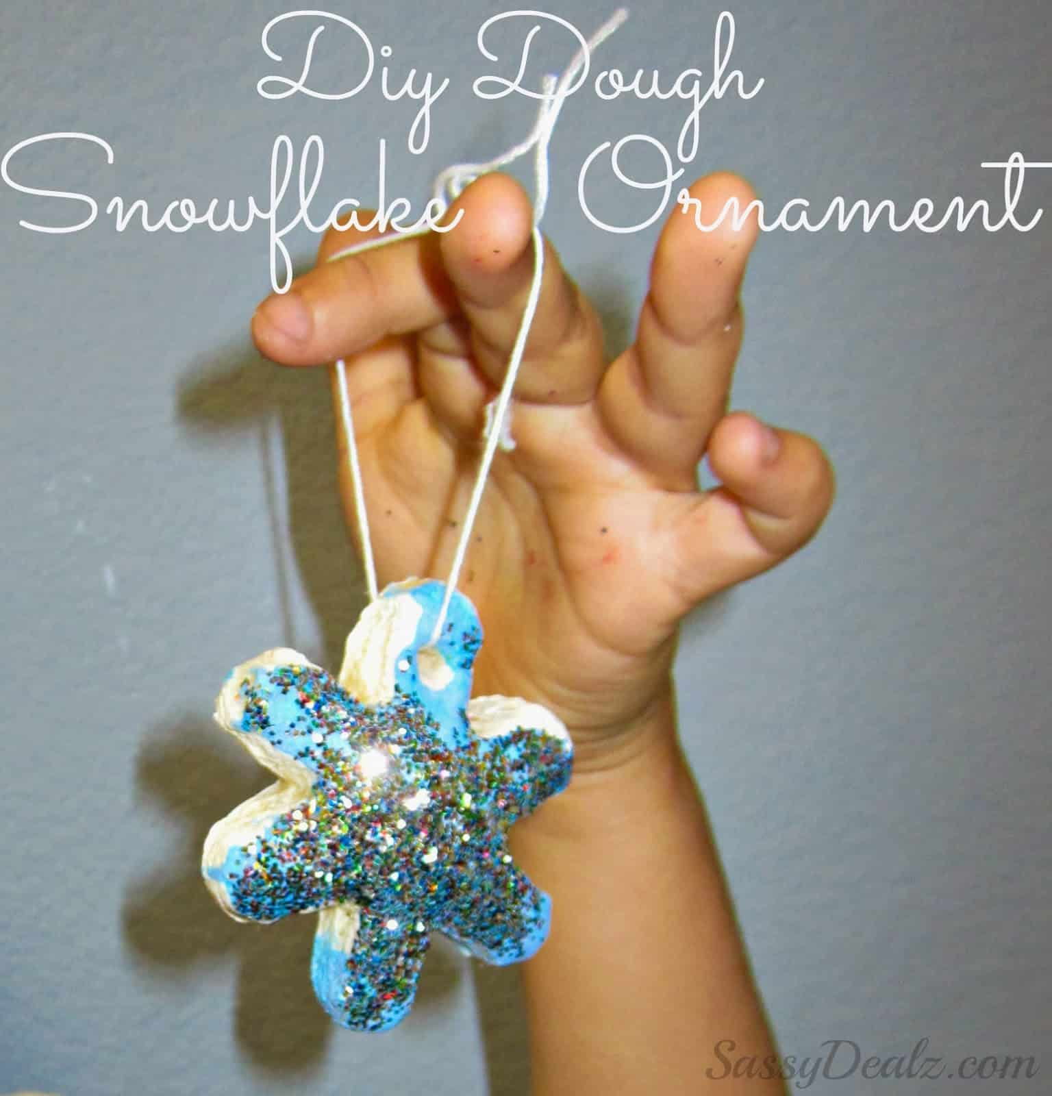 Sparkly salt dough snowflake ornament