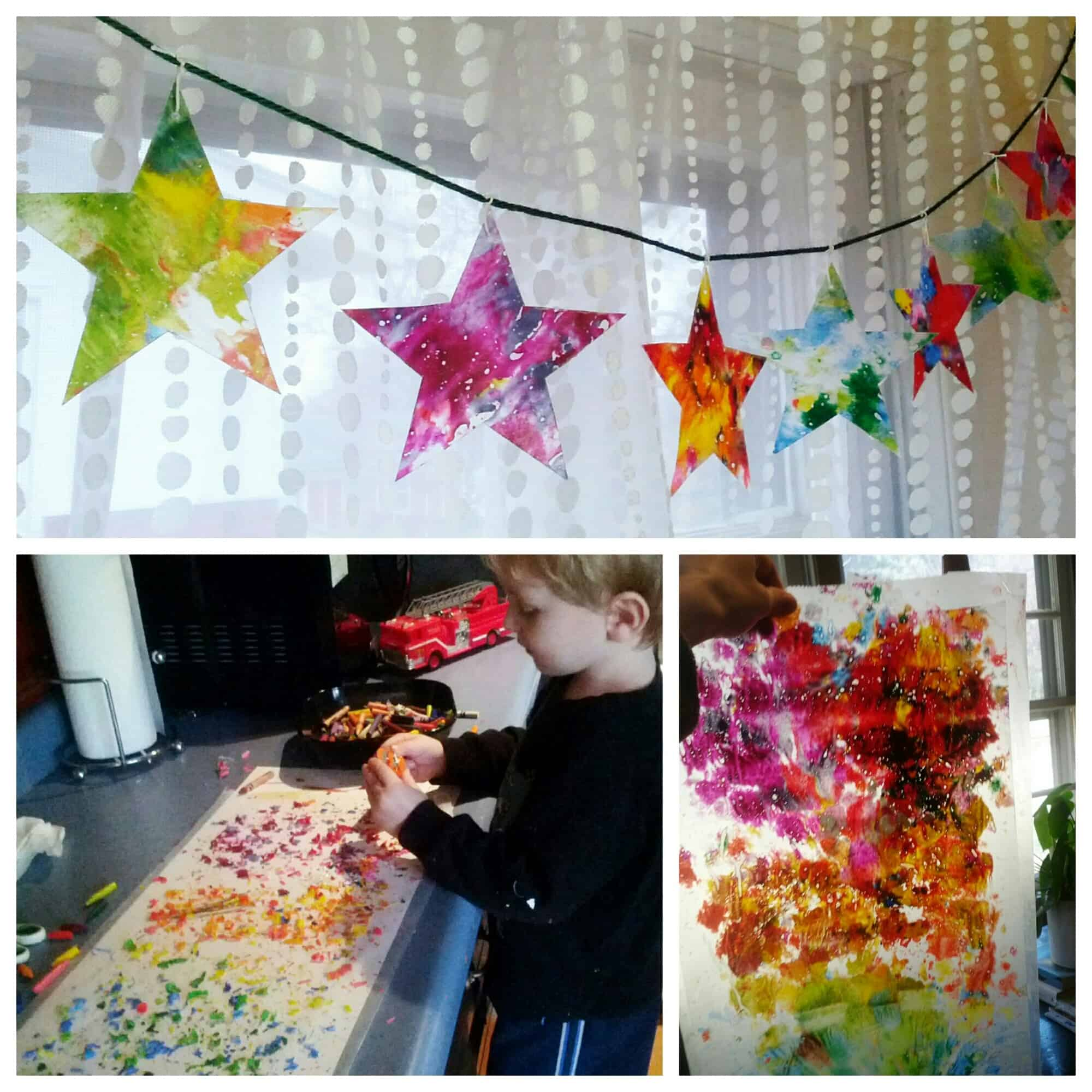 Stained glass Christmas star bunting