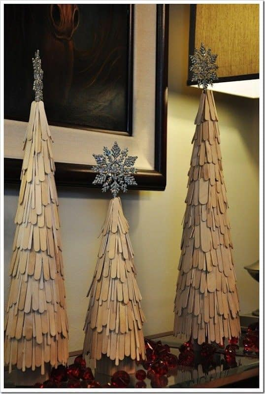 Tall, layered popsicle stick trees