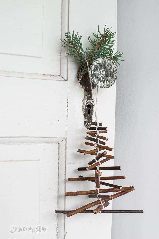 Twig Christmas tree ornament