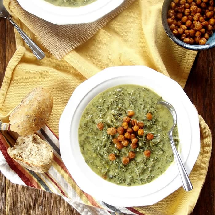 Vegan creamy kale soup with spicy roasted chick peas