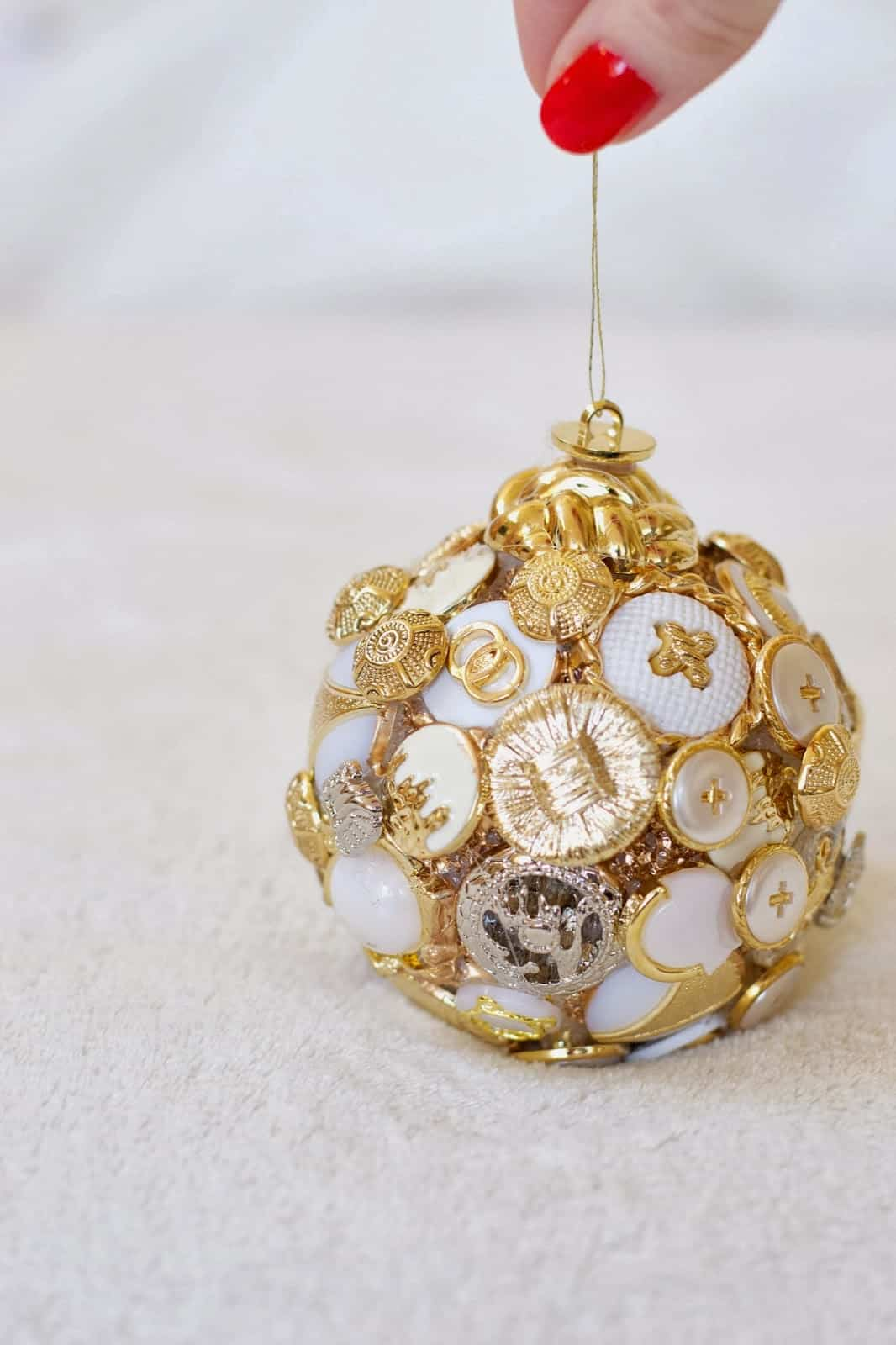 Vintage buttons Christmas ornament