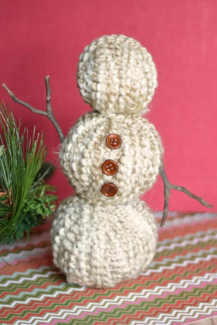 Yarn wrapped snowman