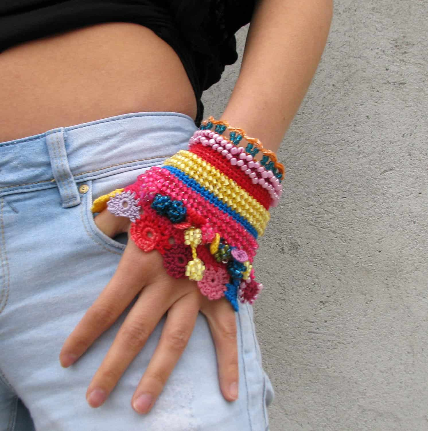 Beaded and lace crochet cuffs