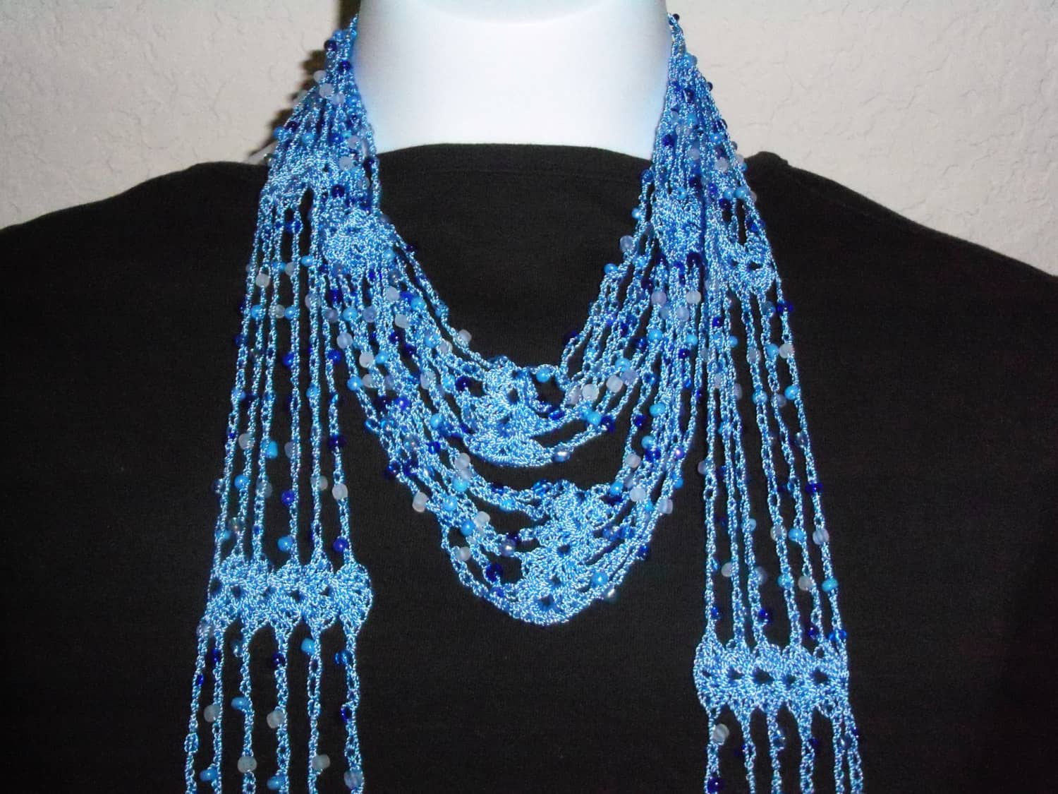 Beaded crochet neck scarf