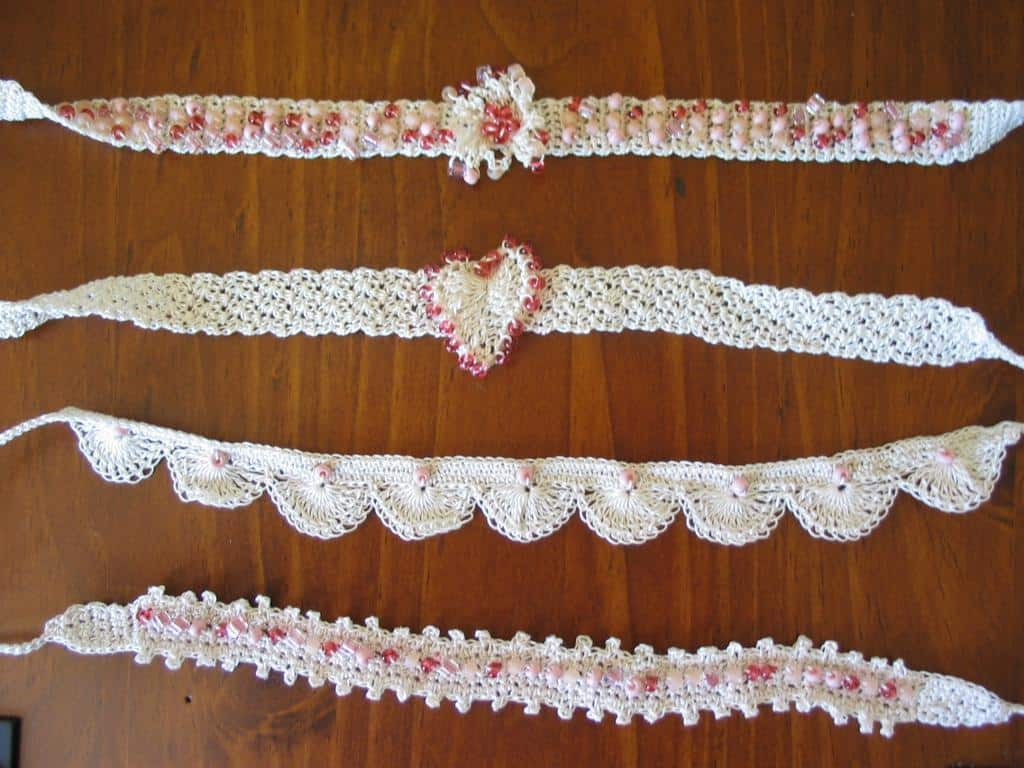 Beaded lace crochet chokers