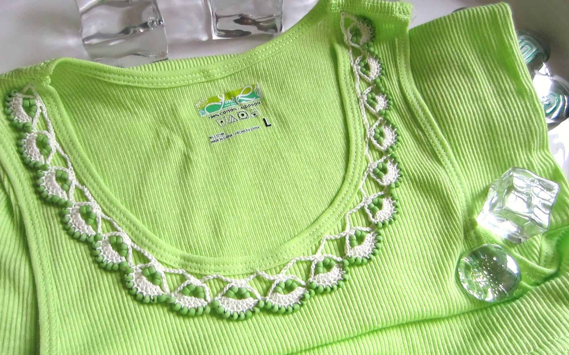 Beaded lace crochet shirt edging