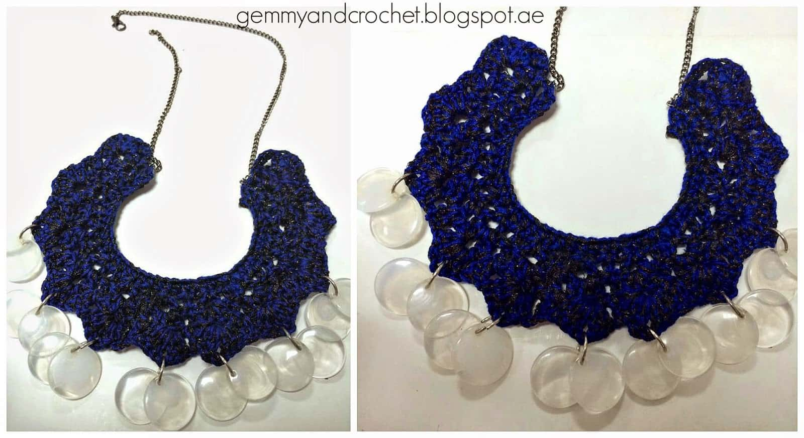 Bib style crochet and glass beads necklace