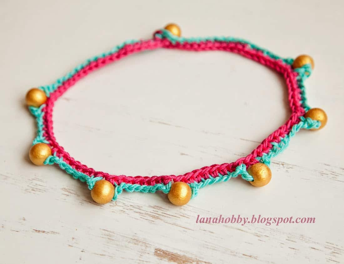 Boho inspired wooden bead and crochet choker
