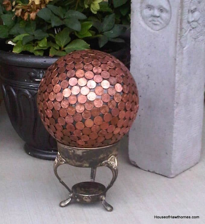 Bowling ball and penny gazing ball