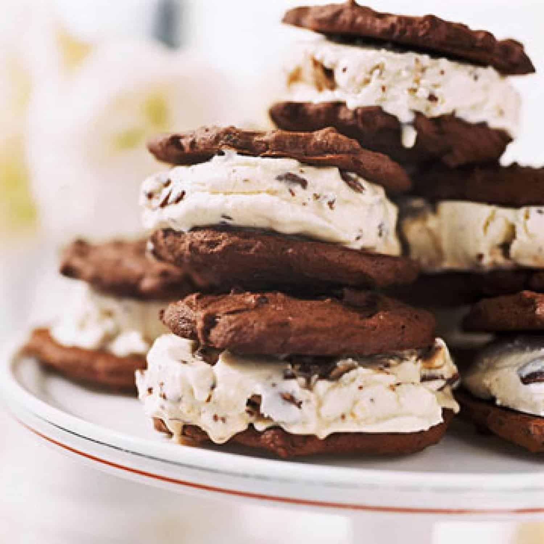 Candy bar ice cream and banana chocolate cookie sandwiches