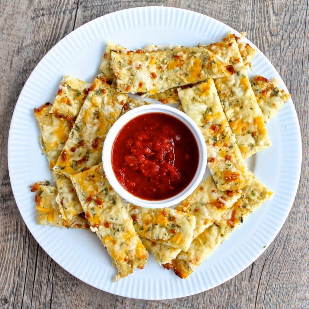 Cauliflower cheesy breadsticks