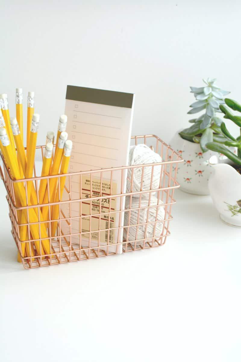 Copper desk basket