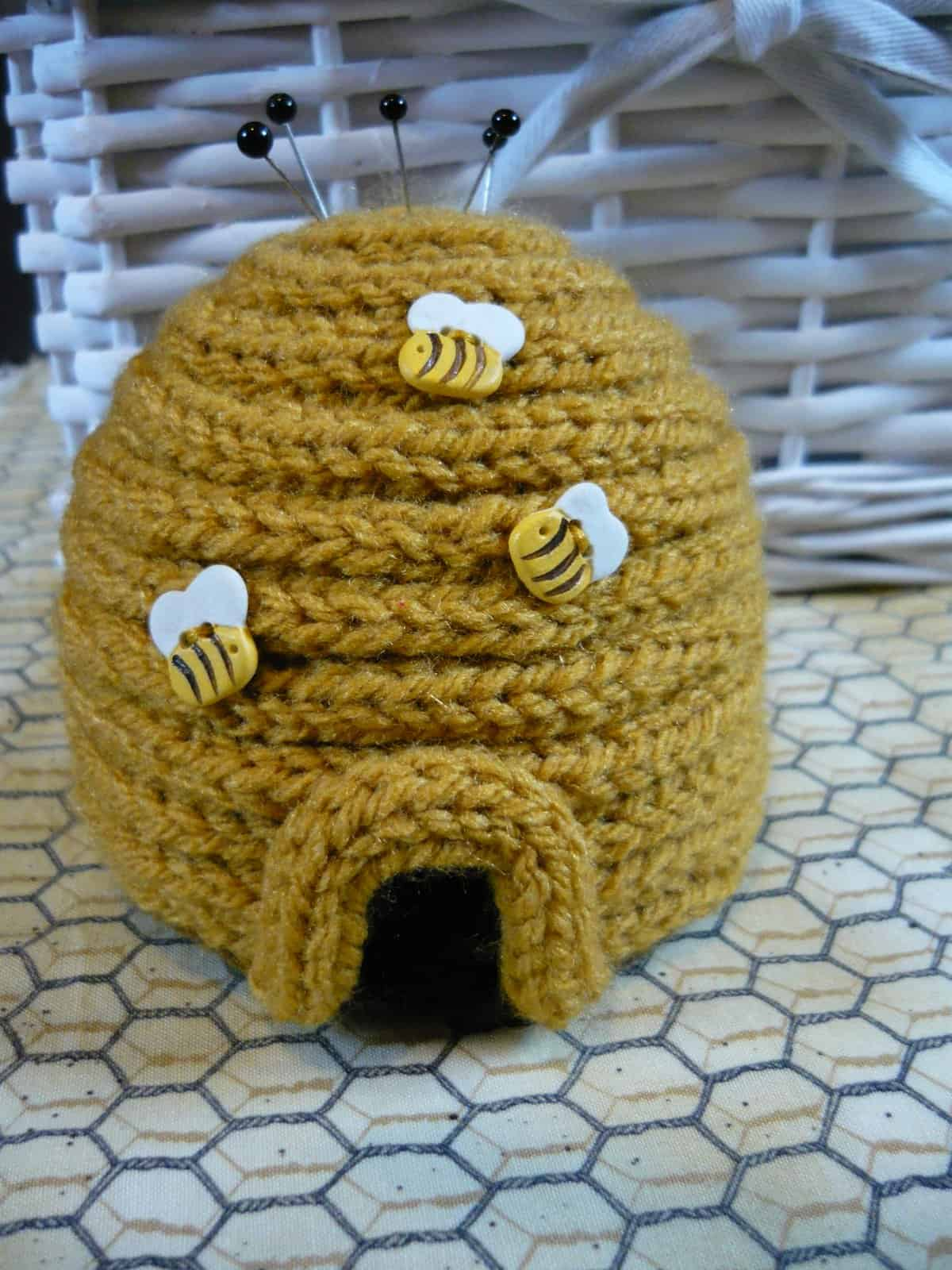 Corked beehive pin cushion