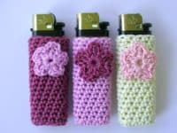Crocheted flower lighter cases 200x150 11 Interesting Crafts Made with Lighters
