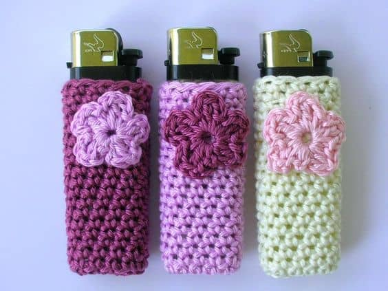 Crocheted flower lighter cases