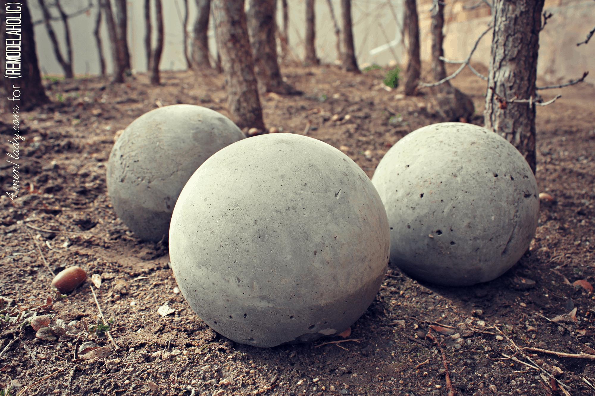 DIY concrete garden spheres