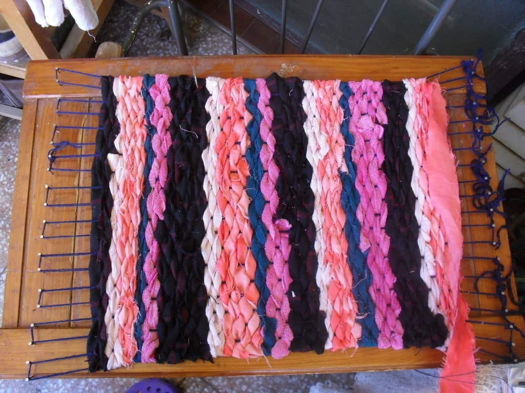 DIY rag rug on a homemade loom