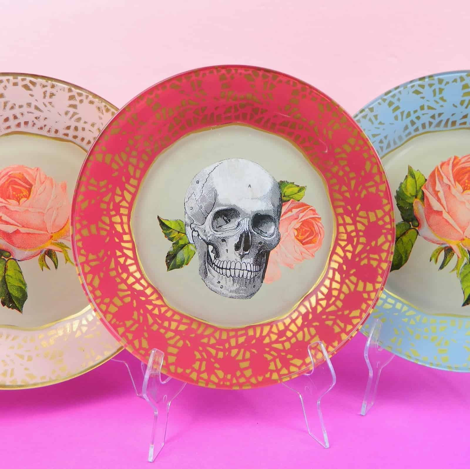 Decoupaged and painted glass plates