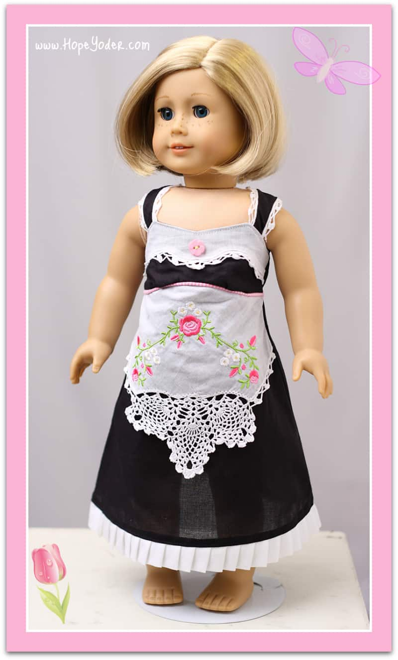Embroidered handkerchief doll dress