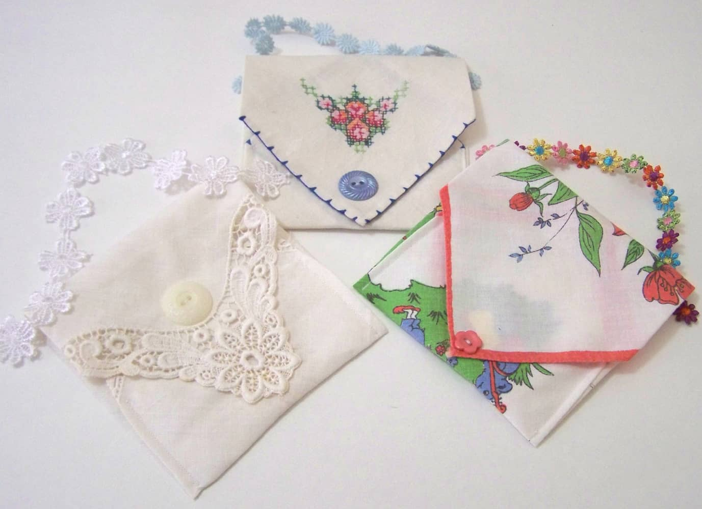 Envelope style handkerchief clutches