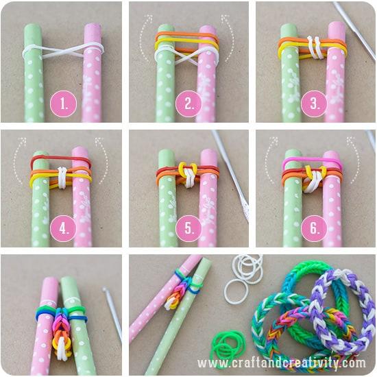Eye cord style bracelet loomed on pens
