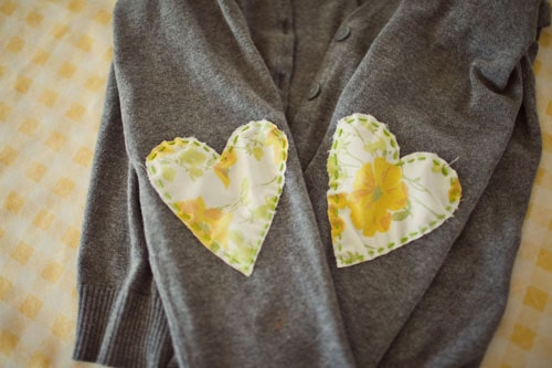 Fabric heart elbow patches