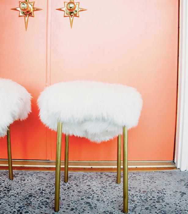 Faux fur stools