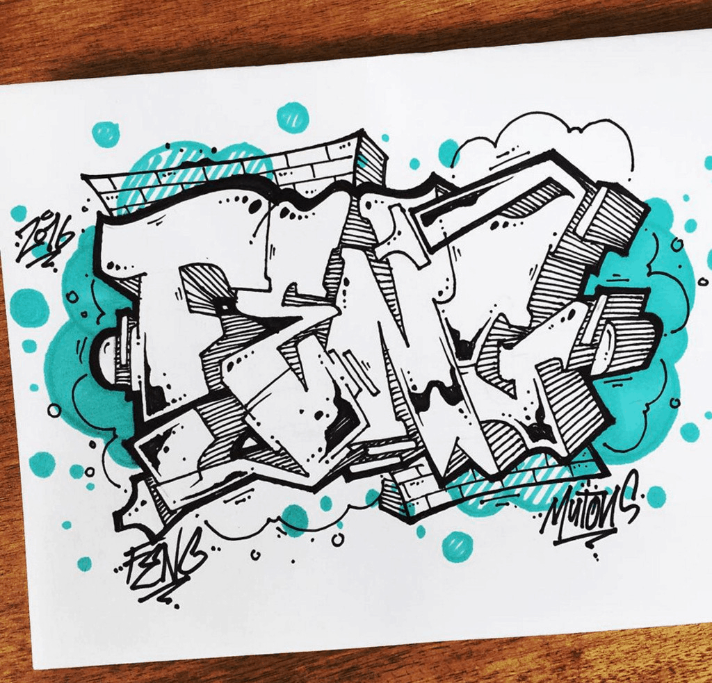Felt tip pen graffiti lettering art