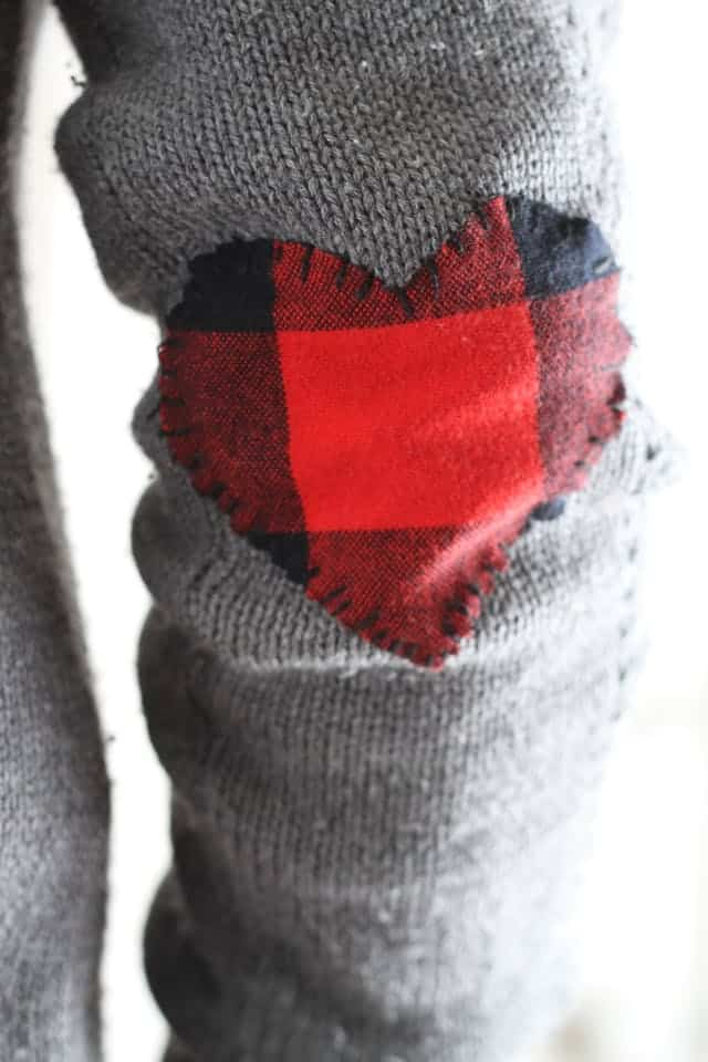 Flannel heart elbow patches