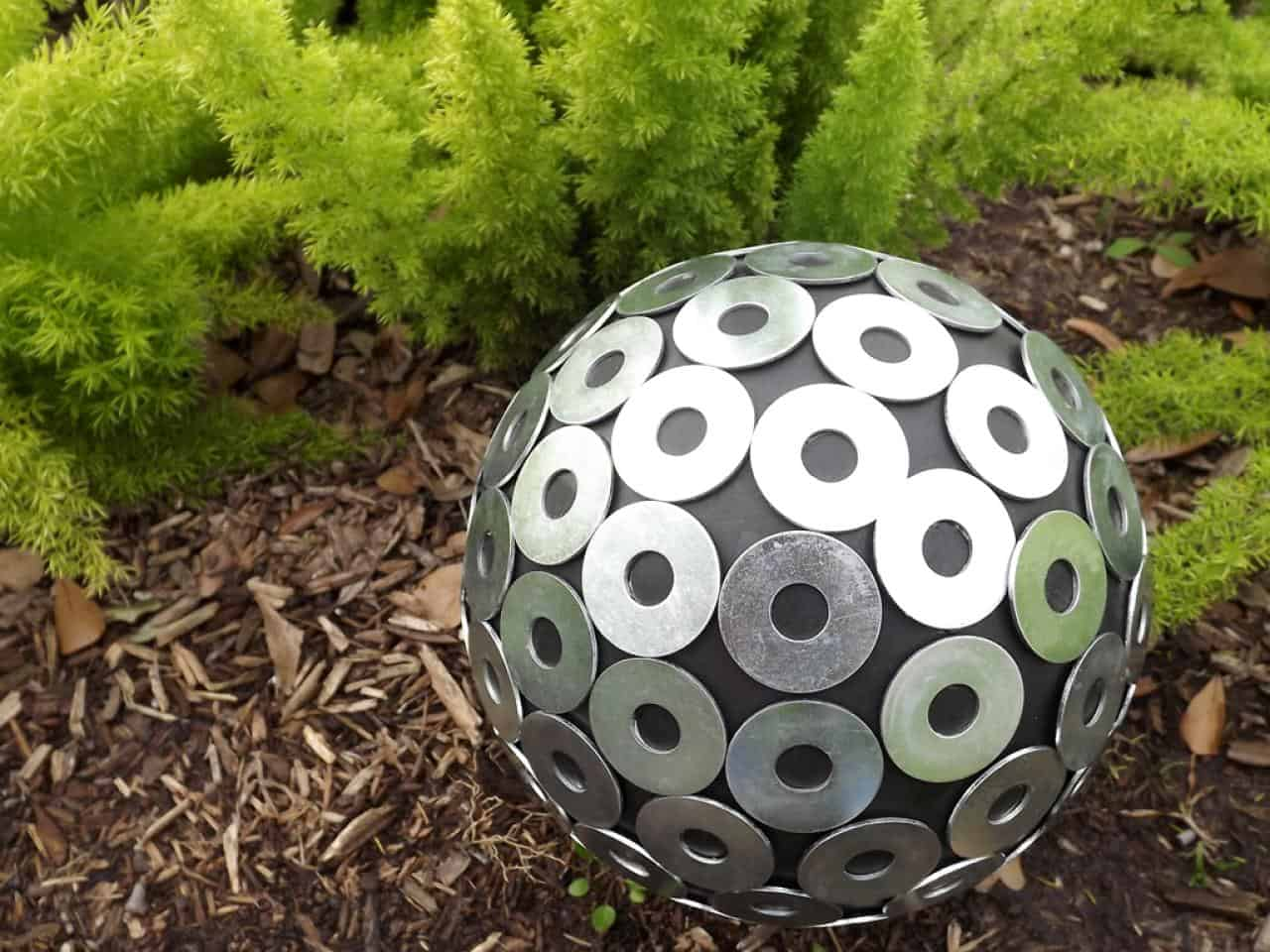 Gazing ball from metal washers