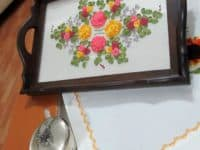 Glass covered ribbon embroidery tea tray 200x150 Knitting Gorgeous Patterns: 15 Beautiful Ribbon Embroidery Designs