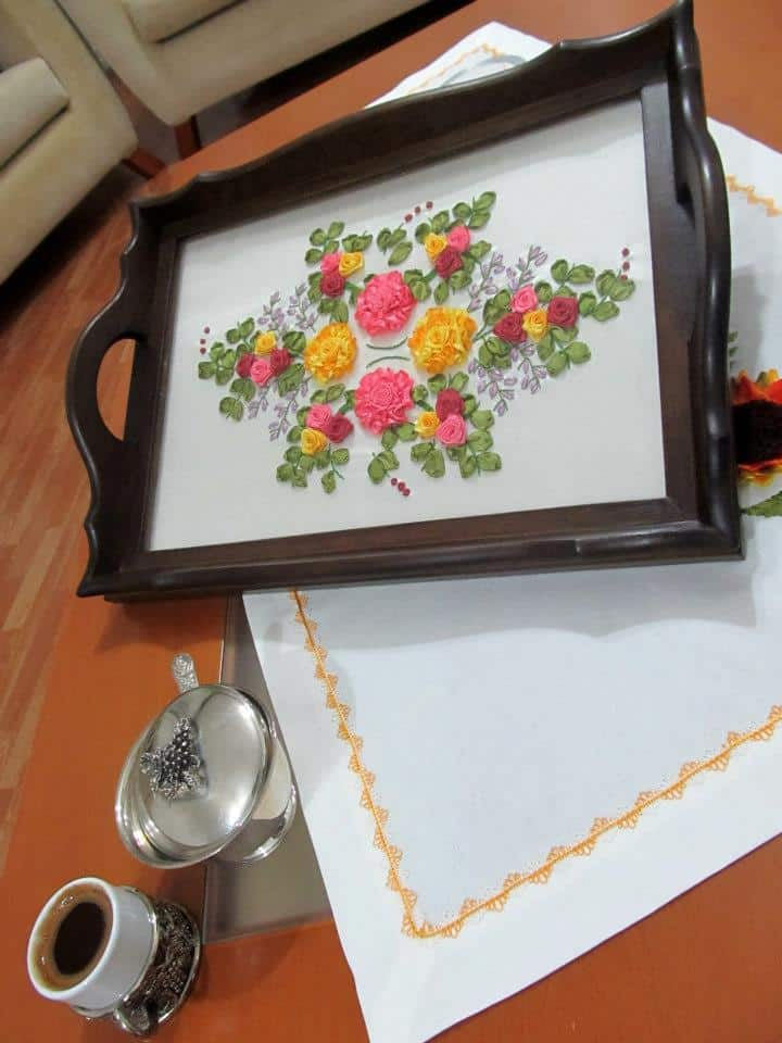 Glass covered ribbon embroidery tea tray