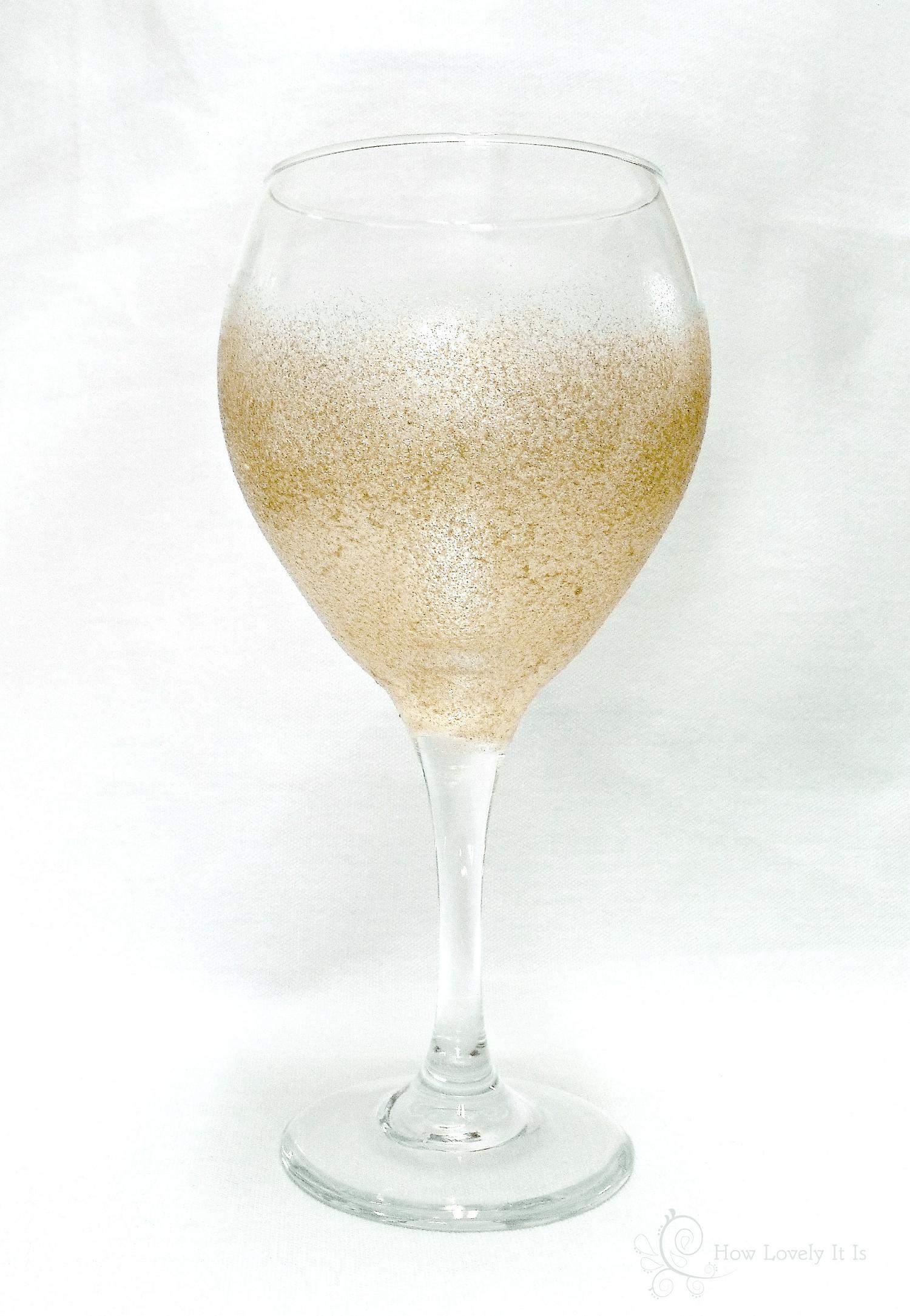 Glitter painted wine glasses