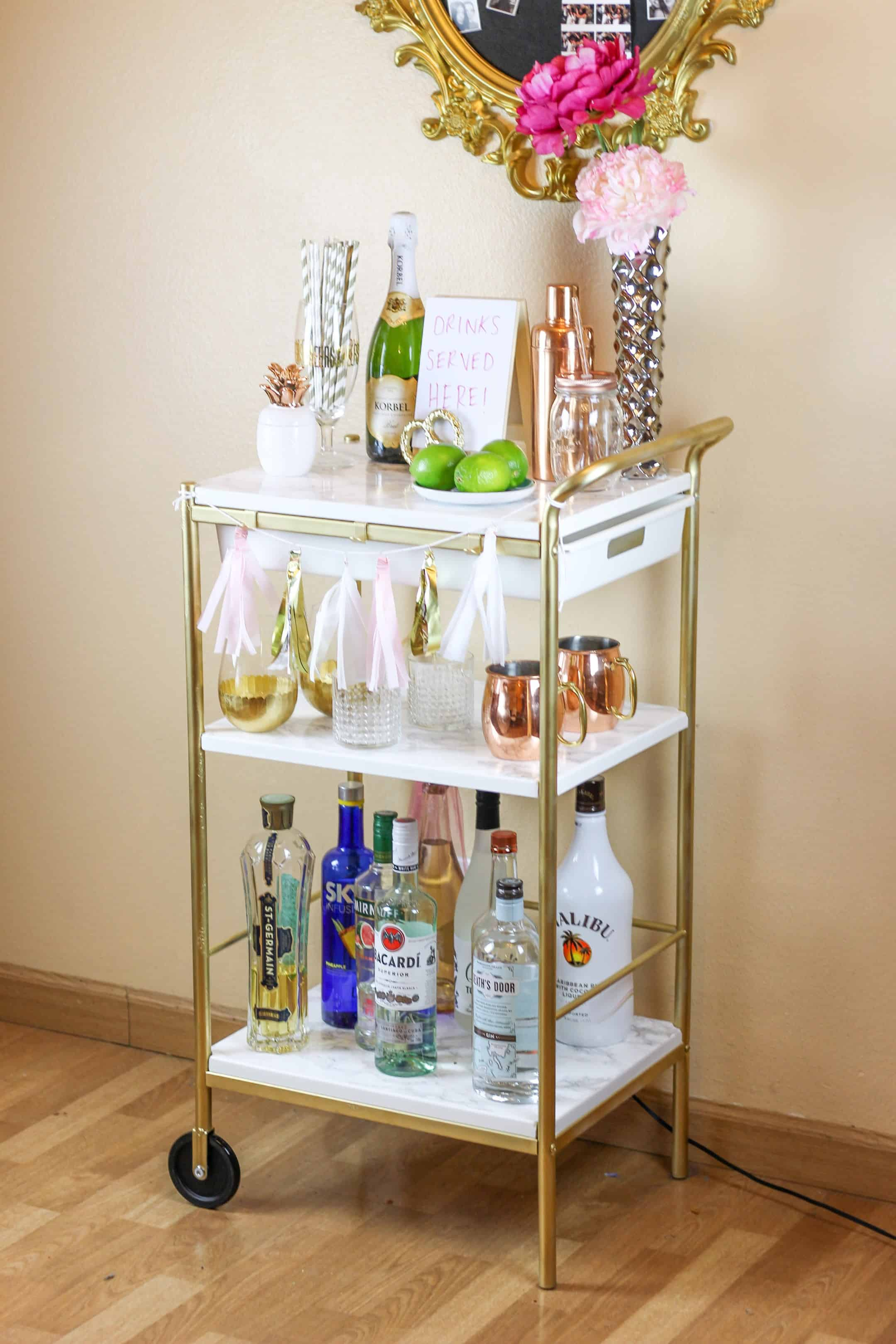 Gold and marble bar cart