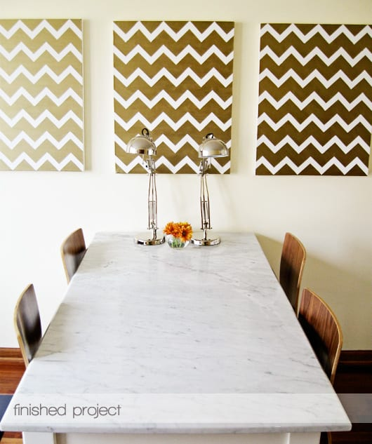 Gold chevron paintings