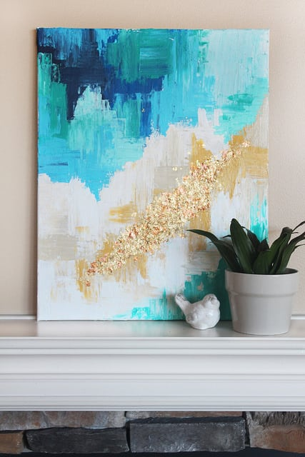 Golden abstract painting