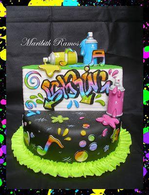 Graffiti designed birthday cake