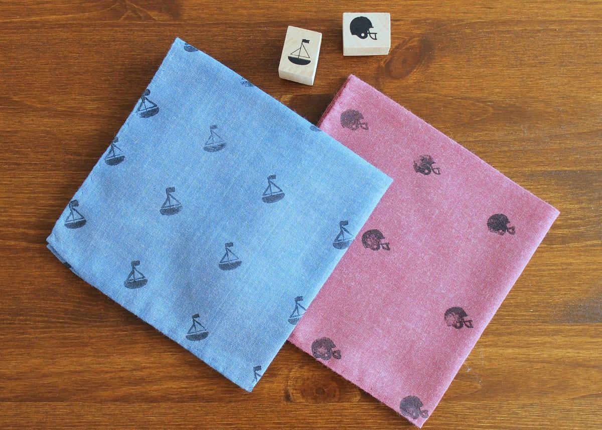 Hand stamped handkerchiefs