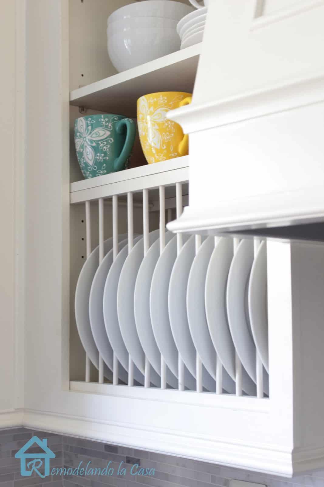 Inside cabinet plate rack