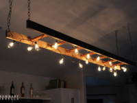 Ladder light 200x150 Farmhouse Beauty: 10 DIY Ladder Creations for Your Home