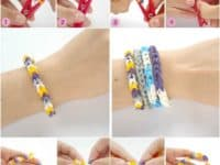 Loom bracelet made on the end of a clothespin 200x150 Usher in Colorful Textural Brilliance with these 15 Great Loom Crafts